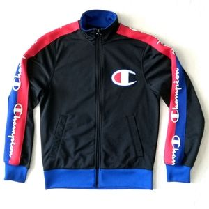 Champion Full Zip Warmup Jacket Black Red & Blue